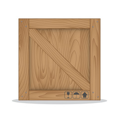 Wooden box and fragile symbol