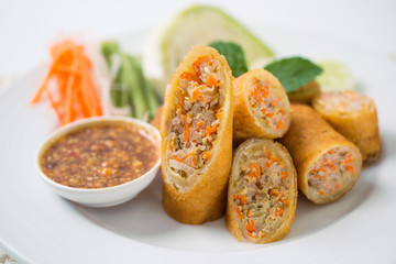Spring Rolls with Pork Dish white background.