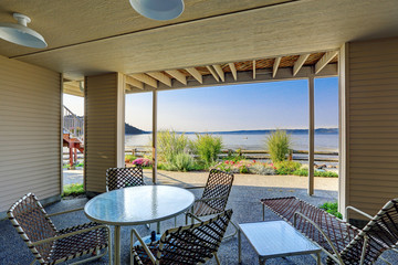 Backyard patio area with Puget Sound view, Burien, WA