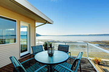 Luxury house with romantic patio area on walkout deck overlookin