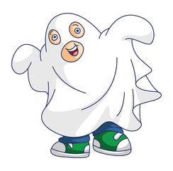 Boy with Ghost Costume