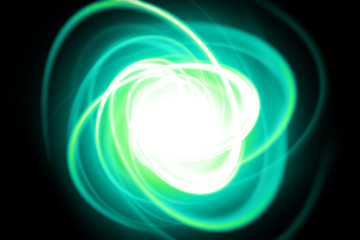 Green dynamic streak on a black background