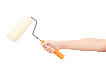 holding a paint roller isolated on a white background