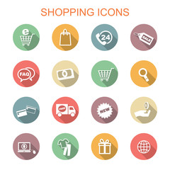 shopping long shadow icons