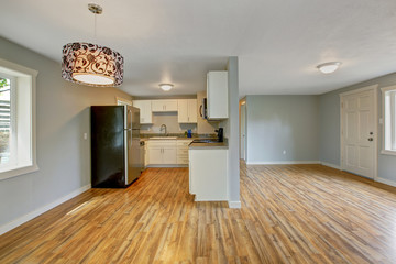 Empty house interior with furnished kitchen room
