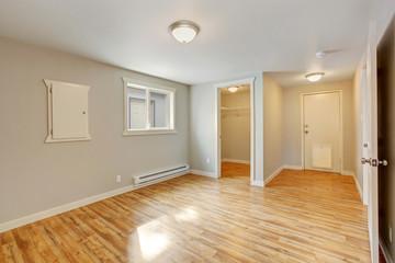 Empty house interior. Bedroom with walk  in closet