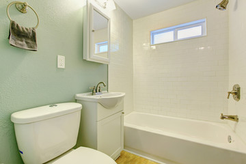 White and mint bathroom interior