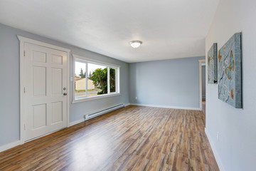 Empty house interior with light blue walls