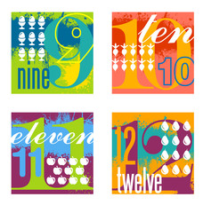 colorful number designs set 3