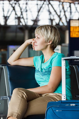 beautiful young woman at the airport