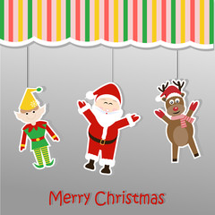 Christmas background sticker with santa claus elf and reindeer