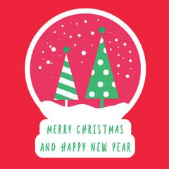 merry christmas tree greeting design