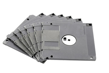 Black floppy disk isolated.