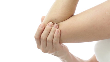 Female Rubbing Out Elbow Pain