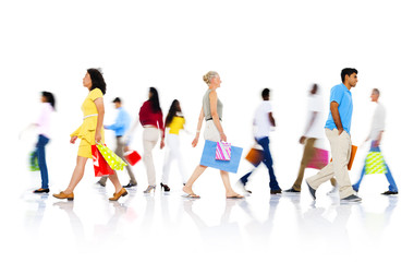 Diverse People Walking with Shopping Bag