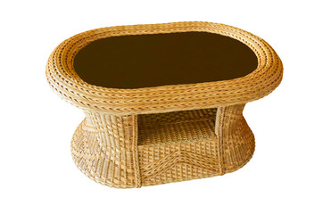 Table made of bamboo isolated