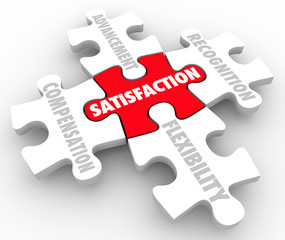 Job Satisfaction Puzzle Pieces Compensation Recognition Advancem