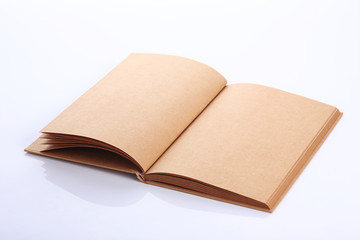 open book paper blank page on white background