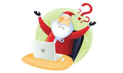 Santa have no idea in front of computer