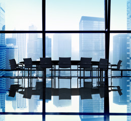 Silhouette of Meeting Table in the Office