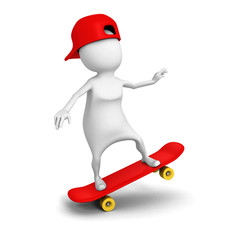 3d white person ride on skate with cap