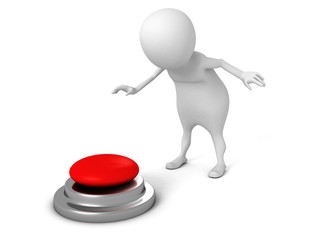 white 3d man pressing red button