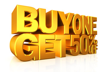 3D gold text buy 2 get 50 percent off.