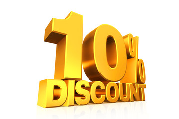 3D render gold text 10 percent discount.