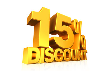 3D render gold text 15 percent discount.