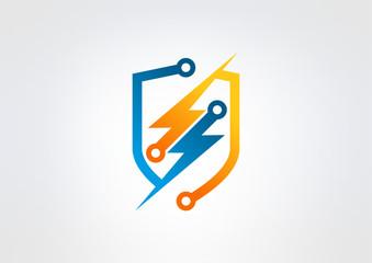 electric shield logo, abstract thunder iconv Vector