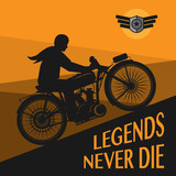 Fototapety Vintage Motorcycle race poster, vector illustration