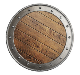 medieval old wooden vikings' shield isolated