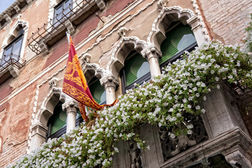 Windows and flag of Venice - Italy