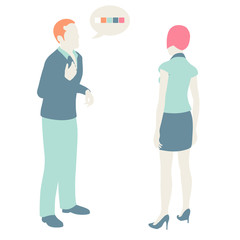 Men and Women Communicate, flat design, pastel colors