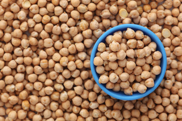Chickpeas in a blue bowl