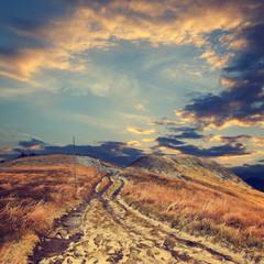 Autumn mountain landscape, vintage look