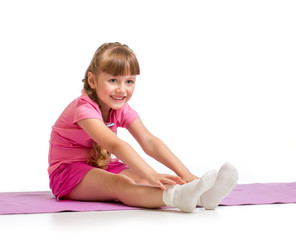 Kid making exercise isolated