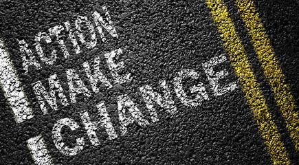 action make change on the asphalt road