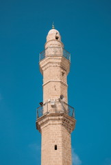 minaret of the ancient mosque in Jaffa in Tel Aviv