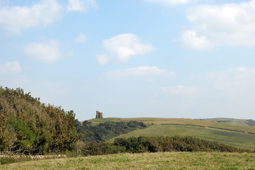 View of St Catherines chapel from Abbotsbury gardens