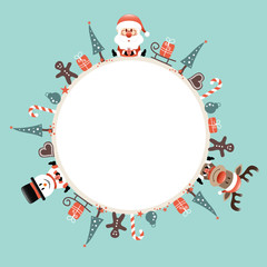 Round Frame Santa, Rudolph & Snowman Symbols Retro