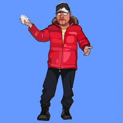 cartoon man in a red jacket with a snowball in hand