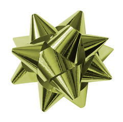 green shiny gift bow isolated on the white