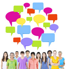 Group of People wit Speech Bubbles