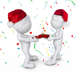 Two Person Celebrating on Christmas