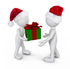 Santa Boy Giving Gift Togetherness
