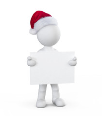 White Santa Boy Holding Placard