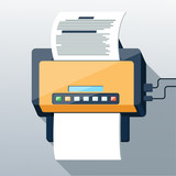 Fax icon in flat design long shadow style