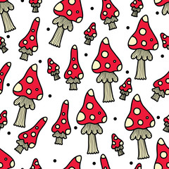 Cute seamless pattern with mushroom .