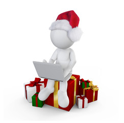 Santa boy with gift playing game
